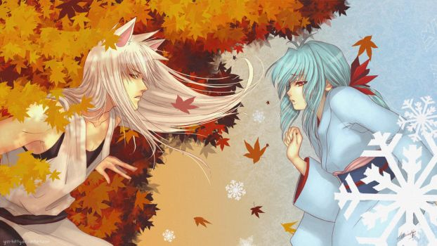 Autumn and winter - wallpaper by Yon-kitty