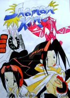 Shaman king on a paper by KaoriMirai