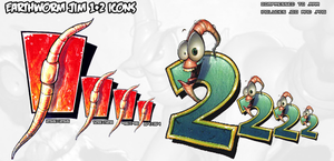 Earthworm Jim 1 and 2 Icons by TheInfamousTheft