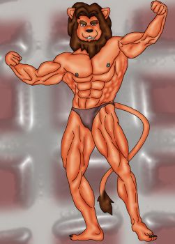 Maned Lion: Shirtless by WolfoxOkamichan