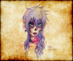 Purple Sugar Skull Girl by chocoanillaberry