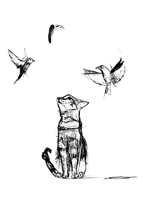 Cat And Birds by Aleksandra869