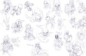 LIKE WHOA HUGE DBZ SKETCH PAGE by Meiphon
