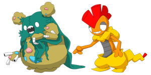 Garbodor and Scrafty by drobot45