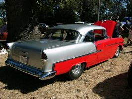 Hot Red-Gray 1955 Chevrolet by RoadTripDog