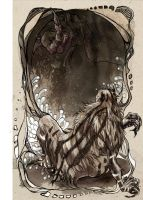 Grendel and the Dragon: John Gardner's 'Grendel' by robbiedraws