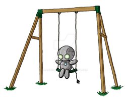 Lonely Robot On A Swing by MacNeacail