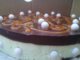 Side Close up on Mint Chocolate Cheesecake by chrysanthemus