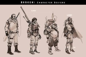 BROKEN- Character Designs by scruffyronin
