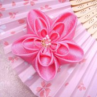 Pink madness kanzashi clip by elblack