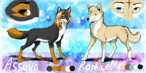 Assuva and Raphael Reference sheet by wolfinrahalify