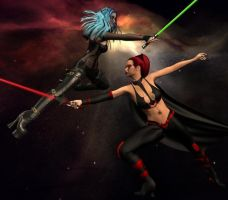 Jedi and Sith Battle it out. by bluegemstones