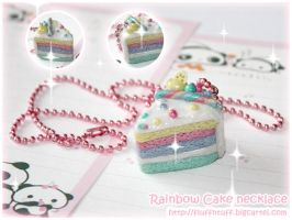 Rainbow Cake necklace by Fluffntuff