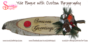 Yule Plaque with Custom Text (Wood Burned) by snazzie-designz