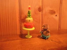 Needle felted birthday cake, dino topper by imaginaryfriends2012