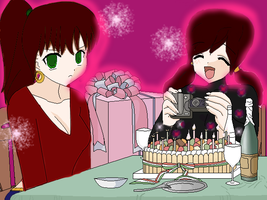 happy birthday with me and Sis by LillyGamer
