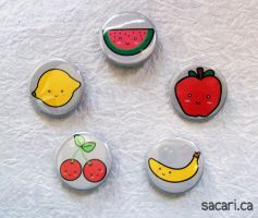 Kawaii Fruits Button Set by Sacari