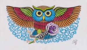 Flying Owl With Rose Tattoo by Sissyempress999