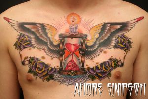 Hourglass chest tattoo by ERASOTRON