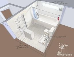 Bathroom concept art by Vatsel