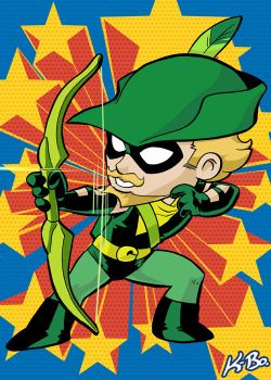 Super Powers Green Arrow Art Card by K-Bo. by kevinbolk