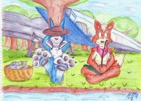 Taking the day - Doggie y Fox by mamei799