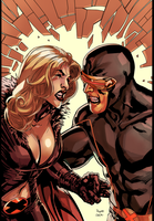 Dark Xmen Cyclops vs Emma Frost by HaphazardMachine