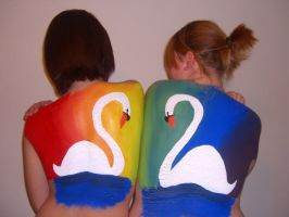 Rainbow Swans by Frivolous-Sess