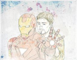 Tony Stark and Jarvis-MarkVI by okamioujou