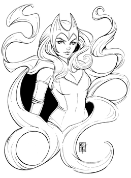 Scarlet Witch Lineart by ColletteTurner