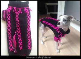 Knitting black/pink for my dog x3 by Lightofatunnel