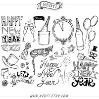 Happy New Year Doodle Lineart Set by Nedti by Nedti