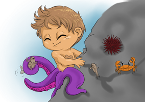 Hannibal mermaid AU - Baby octopus and rock by FuriarossaAndMimma