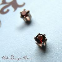 3mm Faceted Garnet Post Earrings, Studs by che4u