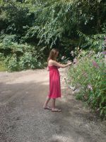 Red dress girl picking flowers by EmKins-Resources