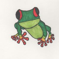 Red-Eyed Tree Frog Drawing by Lirshtah8