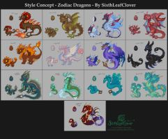 Stylized Zodiac Dragons by The-SixthLeafClover