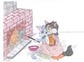 Cats in the fireplace by Jose-Ramiro