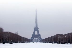 The Eiffel Tower in winter by cclaverie