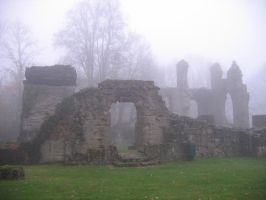 Ruins of the Church of Montfaucon, in the fog. by Gil59sixty
