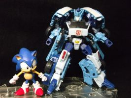 Sonic and Blurr, prepare to see who's faster! by forever-at-peace