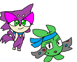 Yumi the Purrloin and Alex the Trubbish by RosetheSeedrian