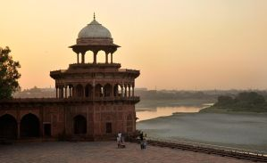 Sun sets on the Yamuna River 1 by wildplaces