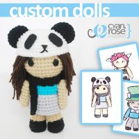 Custom Amigurumi Crocheted Dolls. Your own design! by CyanRoseCreations