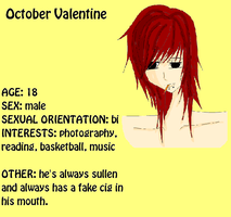 October Valentine WB profile by HieisQueen07