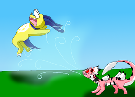 DxDoggymon gets blown away by Tsubadramon by HeroHeart001