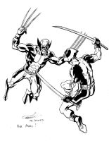 Wolverine vs Deadpool by Ericdimension