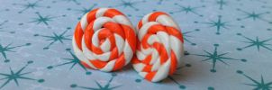 Orange Mint Candy Swirl Post Earrings 2 by Gynecology