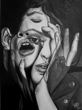 Double exposure drawing by Lupascu1992