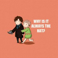 Sherlock Button- Why is it always the hat? by dbrloveless